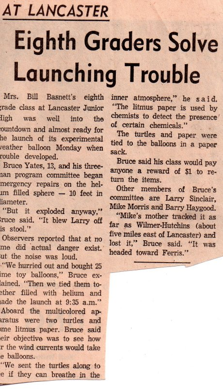 Science project featured in Lancaster Herald Dec 1967.jpg