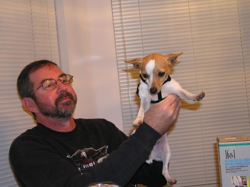 Larry Sinclair and pup Feb 06.JPG