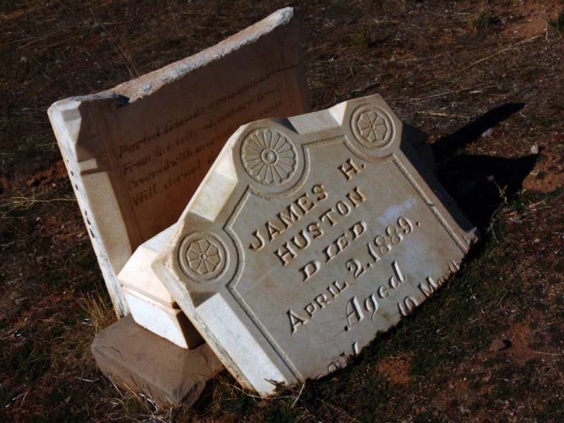 Vandalized Tombstone, Protestant Cemetery, Silver Reef, Utah, 2006