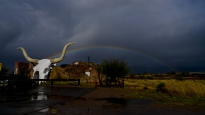 Rainbow over the Longhorn Grill, Arivaca Junction, Arizona, 2009