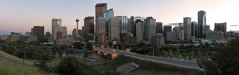 Calgary .... panoramic view at dusk ....