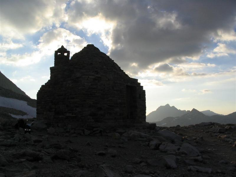 The Muir  Shelter backlighted at sunset