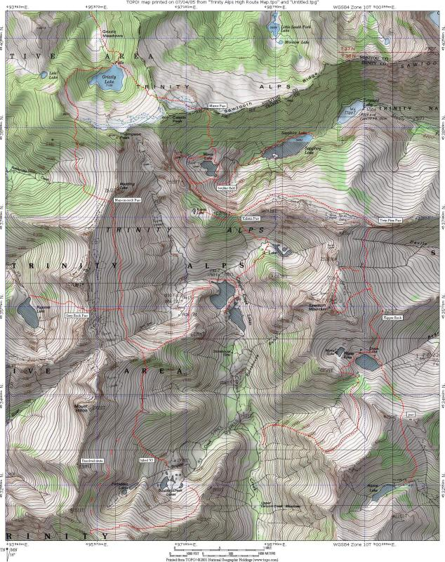 Alps High Route. This map shows most  of the xc  routes Ive hiked. Hike at your own risk!!