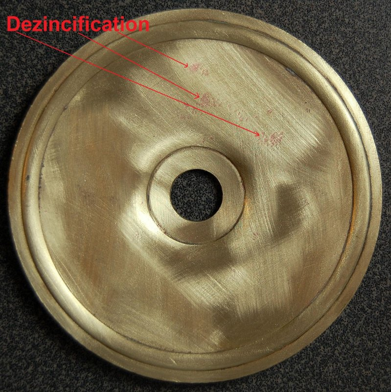 Brass HX End Cap Showing Dezincification