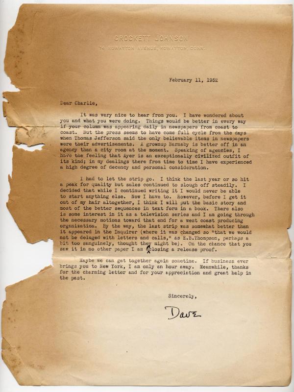 Correspondence from Johnson describing the end of the strip