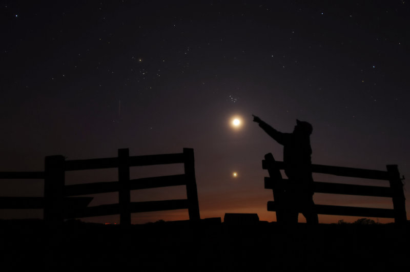 Self Portrait with Moon, Venus, and the Pleiades