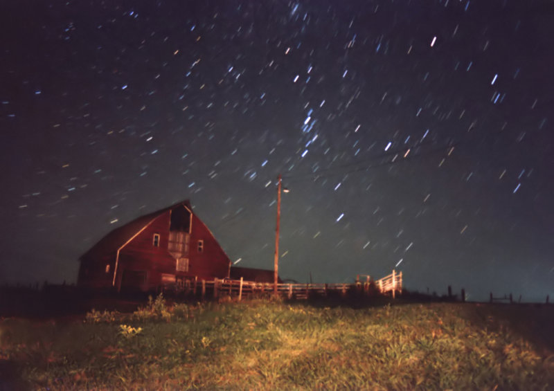 Star Trails Over Barn