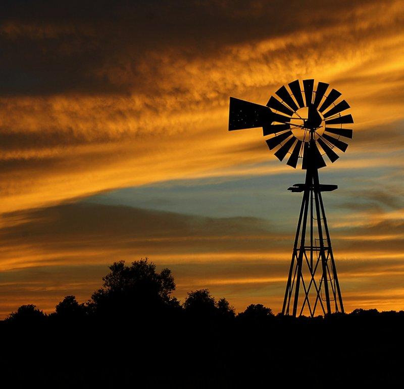 Windmill Sunset (Composition #2)