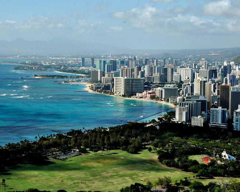 Waikiki Beach & Beyond from Peak of Diamond Head Crater