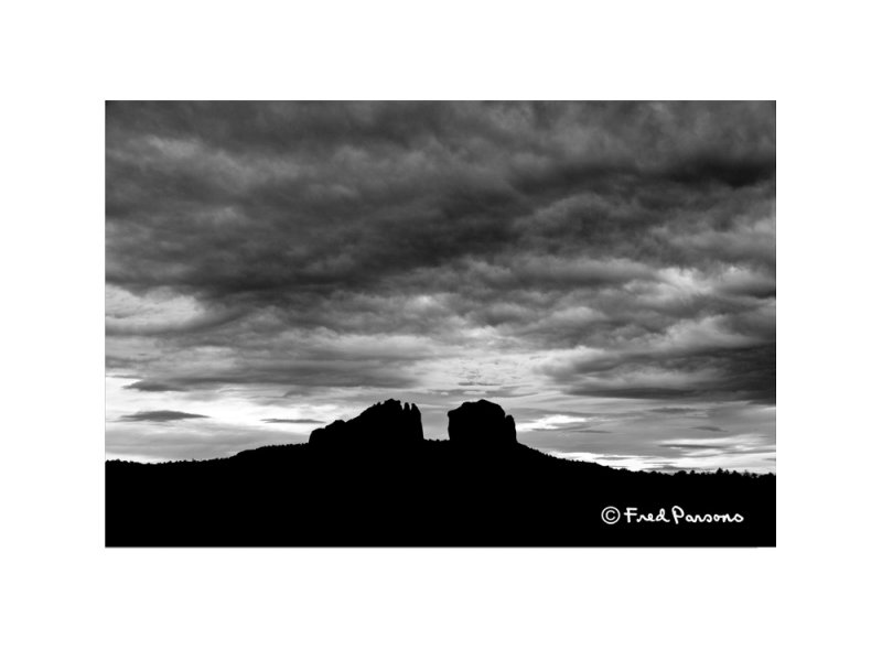 Catheral Rock Silhouette  #7704-BW