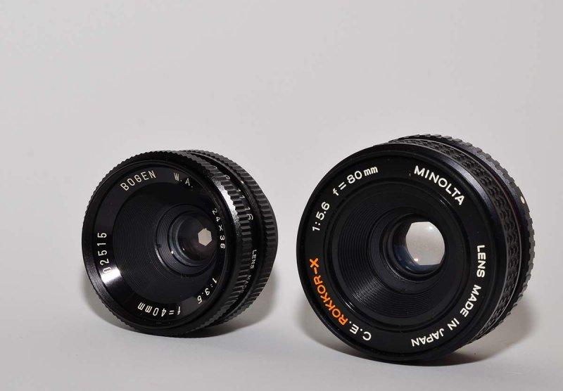 Bogen and Minolta enlarging lenses (for macro use with bellows)