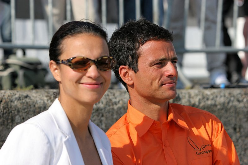 Isabelle Giordano, et Franck Cammas skipper des trimarans de Groupama