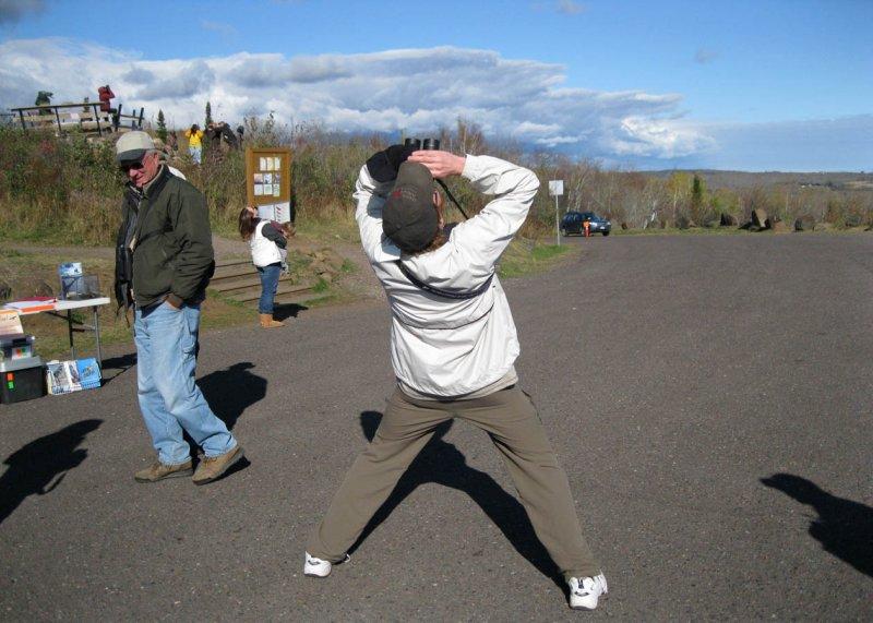 Steve hawkwatching at Hawk Ridge!