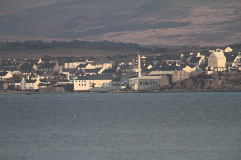 The town of Bowmore and the Distillery from Bruichladdich across Loch Indaal