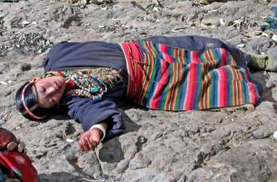 Reclining on a sky burial site