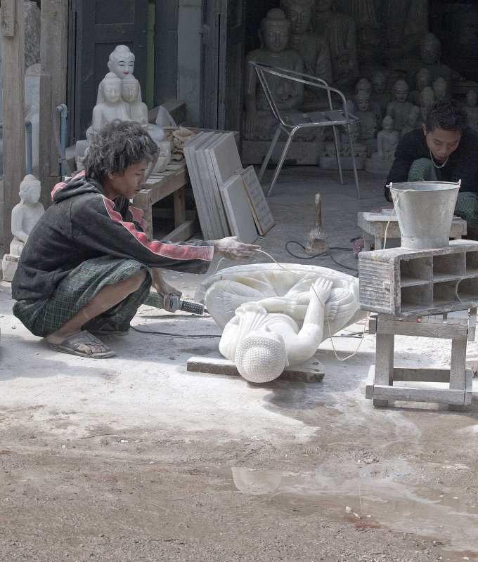 shaping the marble