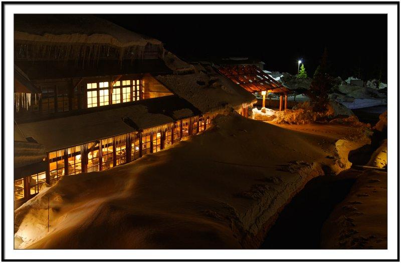 Old Faithful Inn at night