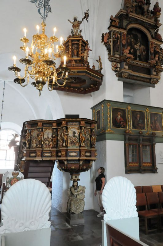 Brenda and Moses with the ornate pulpit