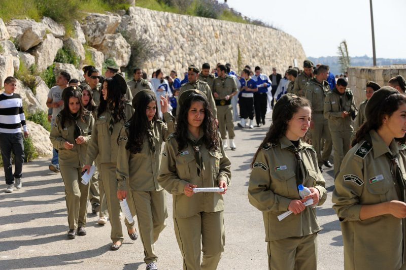 Teenage girls wearing uniform in Palm Sunday procession