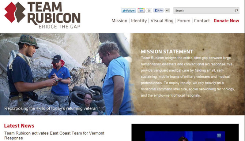 Link:  Support Team Rubicon - repurposing the skills of todays returning veterans