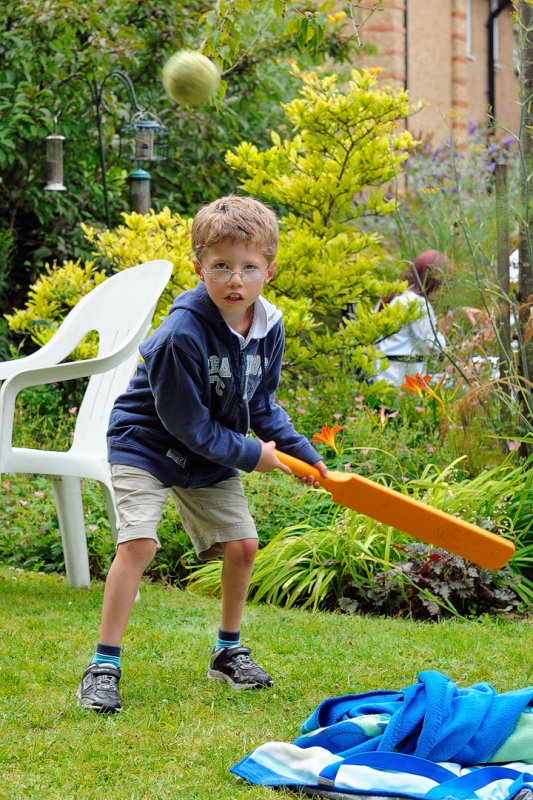 Tom cricketer plays the slog