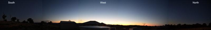Observing site at dusk 270deg panorama