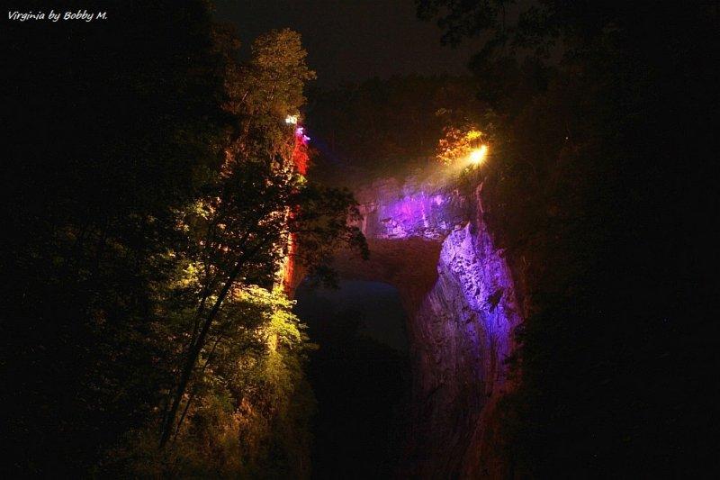 Natural Bridge Drama of Creation - light show at night