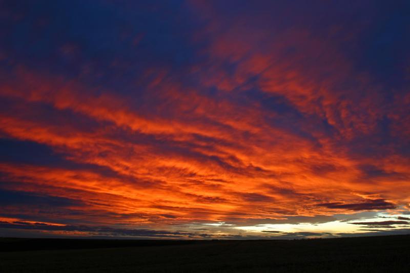 Sunset  Near Wilbur Washington ( Wheat Field Country)