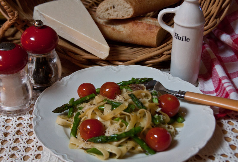 Tagliatelle with Prosciutto, Orange, Asparagus and Tomatoes