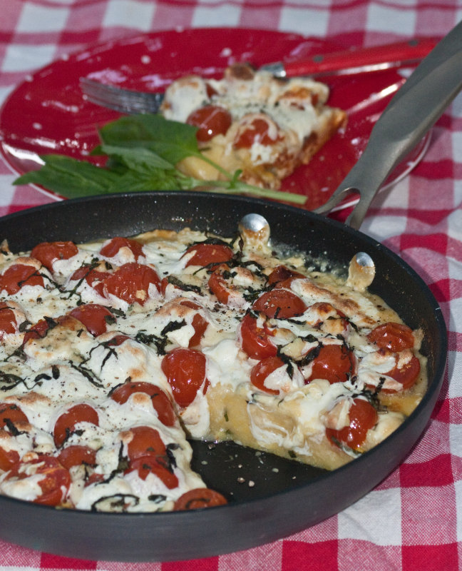 Skillet Polenta with Tomatoes and Gorgonzola