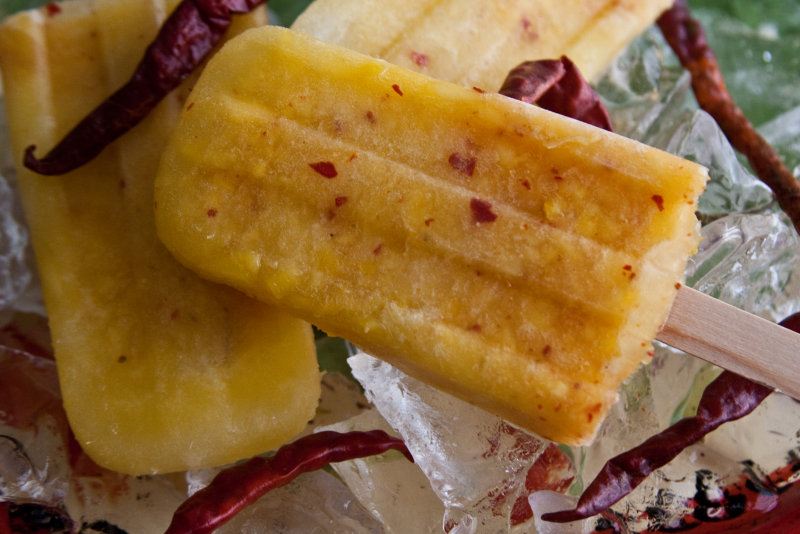 Spicy-Hot Pineapple Ice Pops