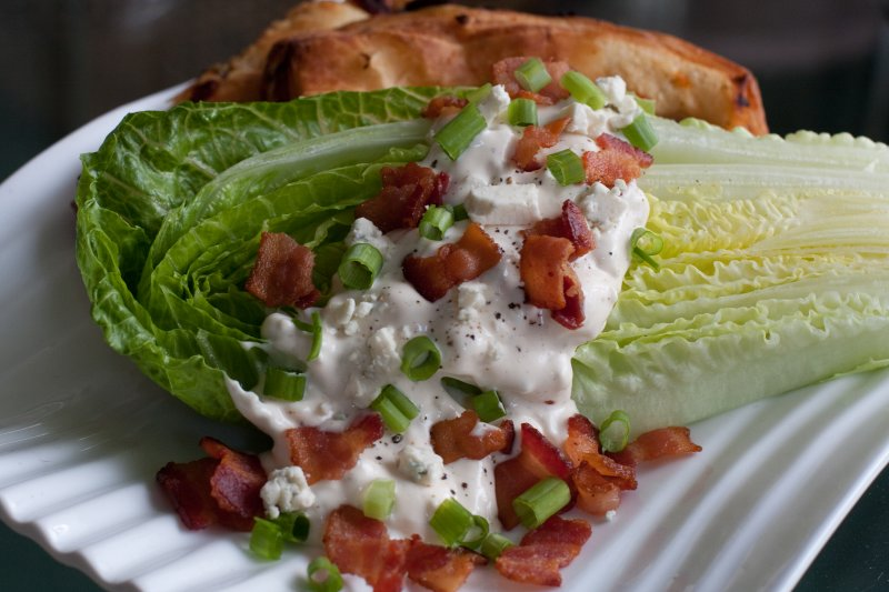 Romaine Wedges with Warm Bacon and Blue Cheese Dressing