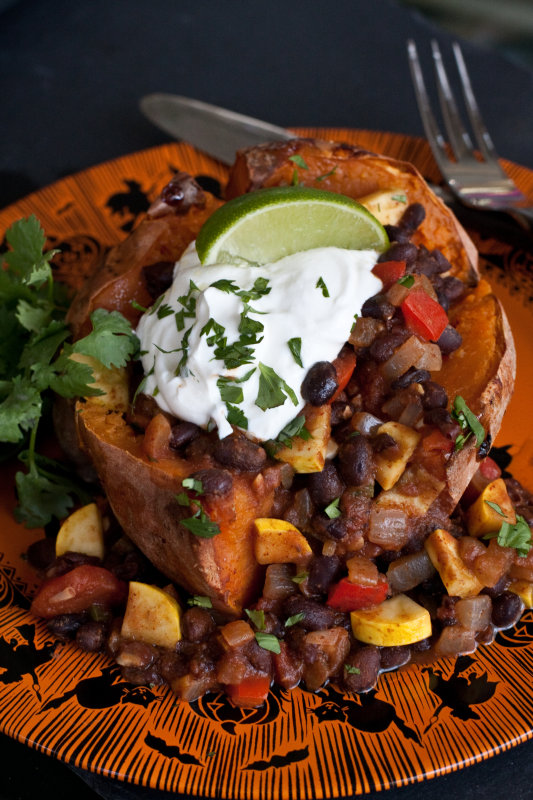 Sweet Potatoes Topped with Vegetarian Black Bean Chili