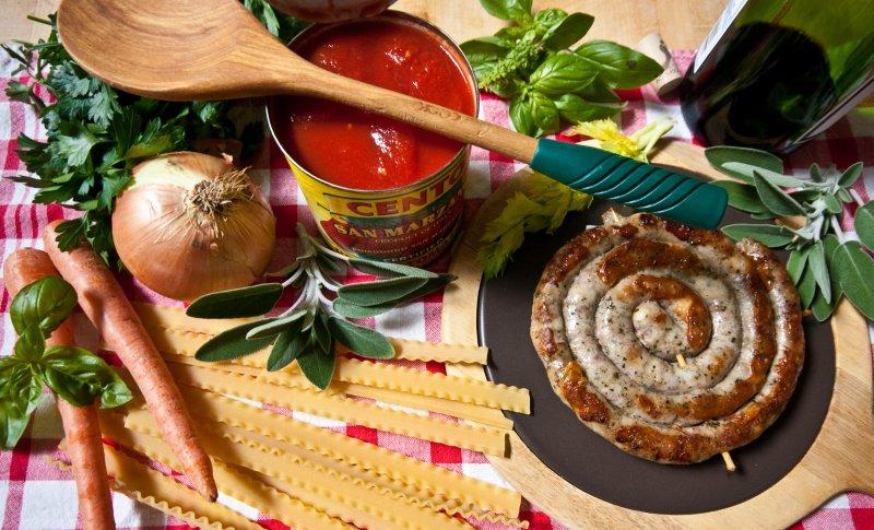 Jimmys Pecorino Sausage with Ingredients for Sugo Finto Pasta Sauce