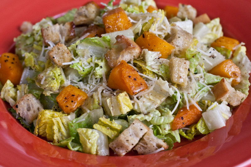 Caesar Salad with Roasted Butternut Squash and Croutons