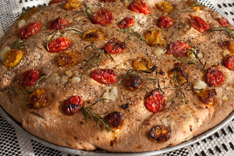 Focaccia with Potatoes, Cherry Tomatoes and Rosemary