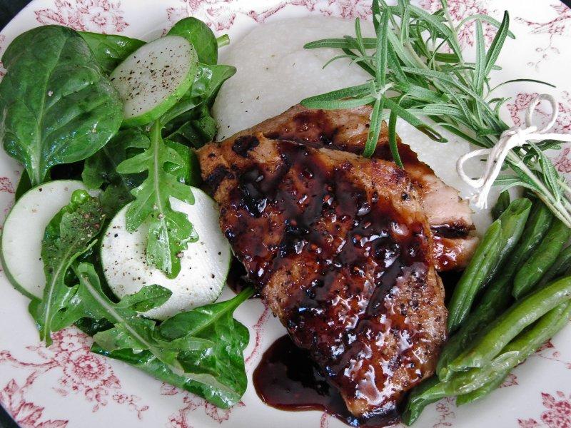 Sweet and Sour Raspberry-Jalapeno Glazed  Pork Chops
