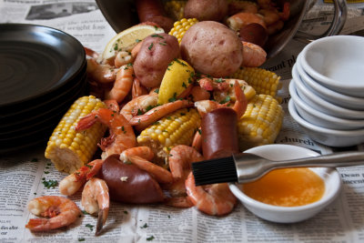 Boiled Shrimp with Sweet Corn, New Potatoes and Smoked Sausage