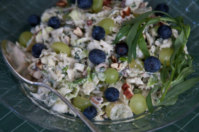 Creamy Coleslaw with Grapes, Blueberries, Herbs, and Walnuts