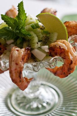Jerk Shrimp with Armenian Cucumber and Kiwi Salsa