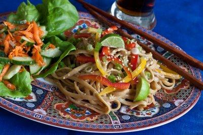 Peanut Sesame Noodles with Cucumber Carrot Salad