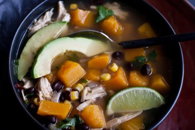 Chipotle-Lime Broth with Chicken and Butternut Squash