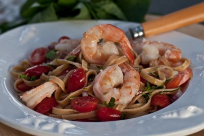 Spicy Thai Pasta with No-Cook Sauce of Thai Basil and Shrimp
