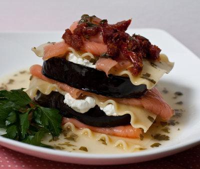 Smoked Salmon, Eggplant, and Goat Cheese Stacks