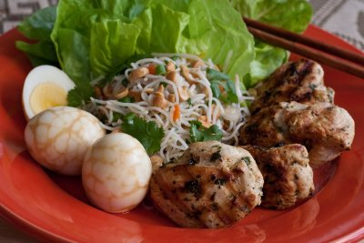 Grilled Garlic Chicken with Rice Noodle Salad and Chinese Tea Eggs