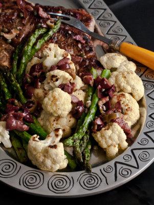 Strip Steak and Vegetables with Garlicky Olivada