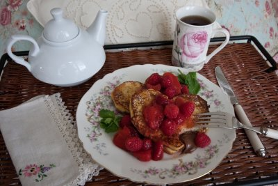 French Toast Hearts with Nutella, Strawberries,  and Raspberries