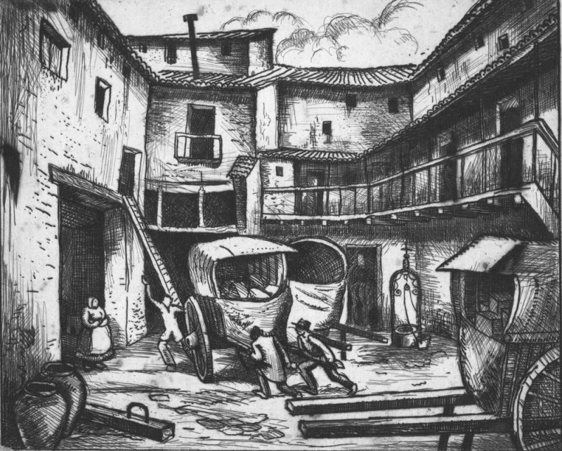 Posada at Lorca, etching, Authors collection