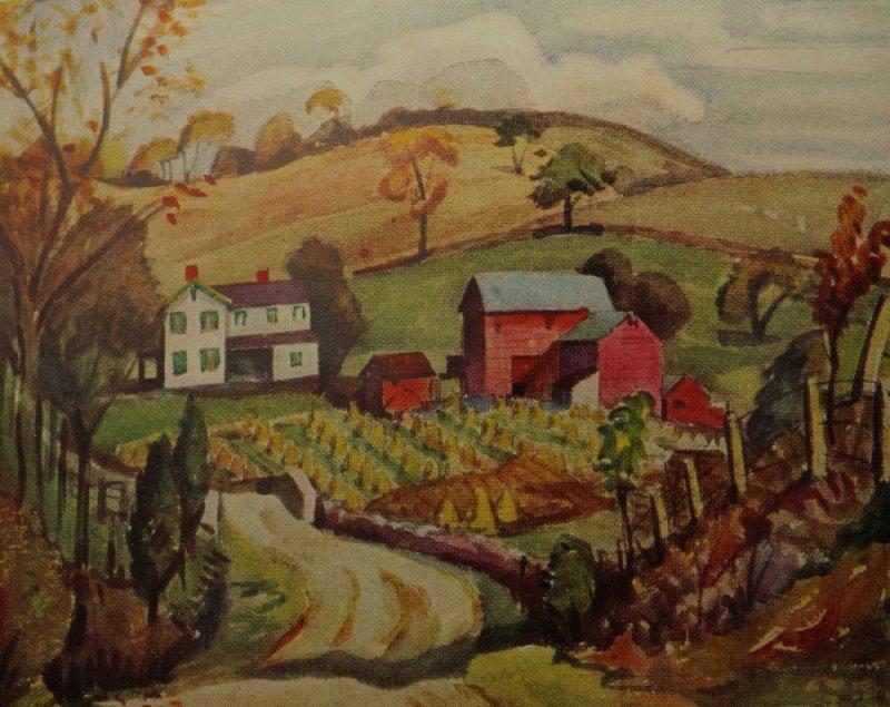 Frontispiece of On Wandering Wheels, Corn harvest in New Jersey.