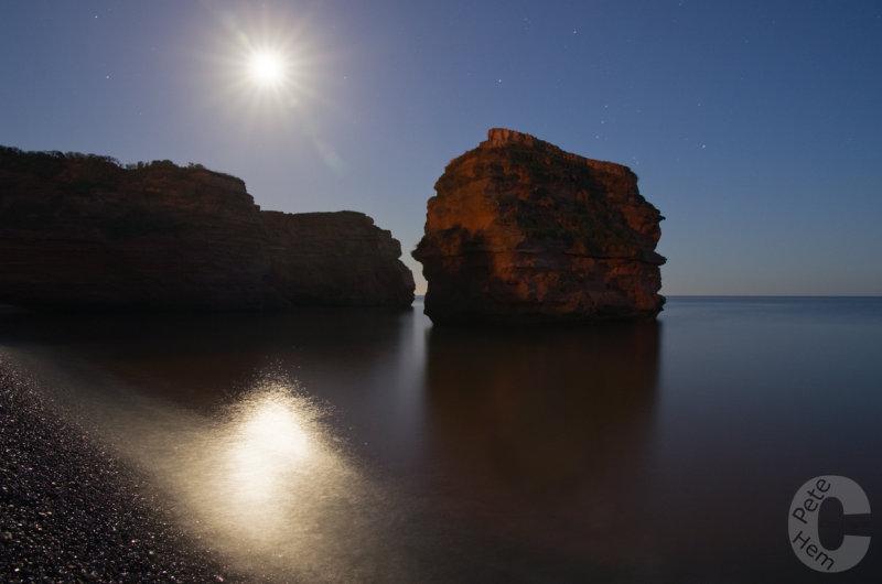 Moon light at Ladram Bay